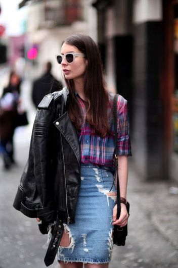 Street Fashion | Street Peeper | Global Street Fashion and Street Style - denim skirt