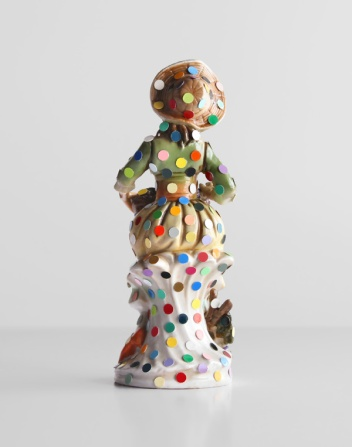 chad-ways-Figurine-Of-A-Lady-With-Spots-(2)---mixed-media-on-found-ceramic