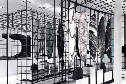 Marble-interior-design-fashion-trend-white-styling-surfboard-beautiful-Australian-brand-Haydenshapes-Alexander-Wang-Grand-Street-store-New-York-cage