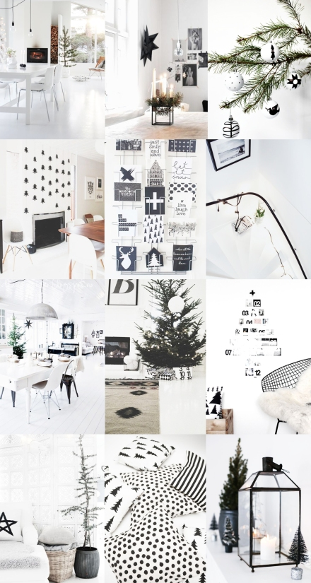 holiday-christmas-tree-interior-styling-black-white-snow-green-house-cards-wishes-light