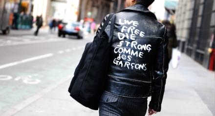live free die strong comme des garcons-qoute